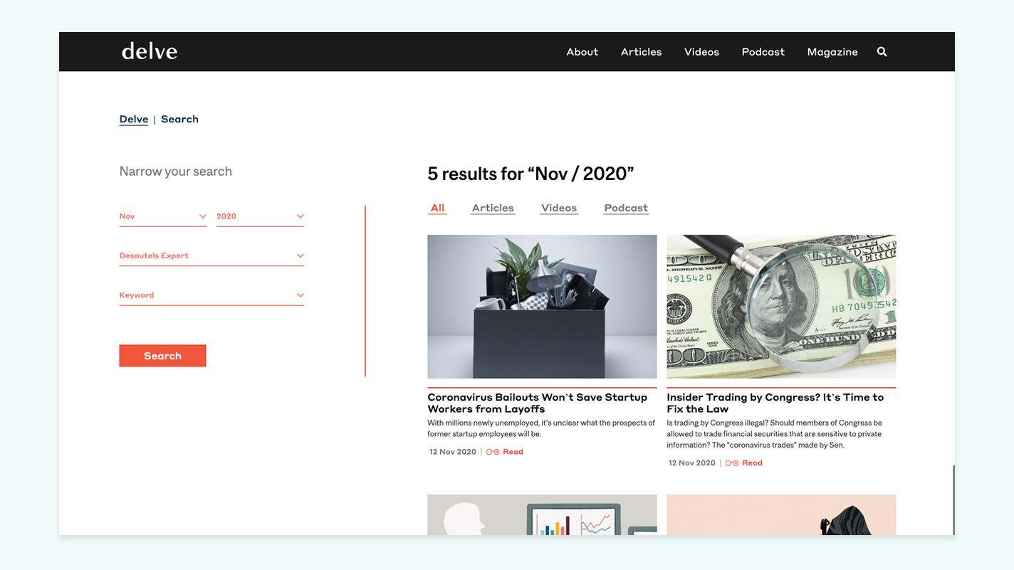 Delve search McGill website